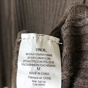 Vince Sweaters - Vince brown skinny rib cashmere blend cardigan